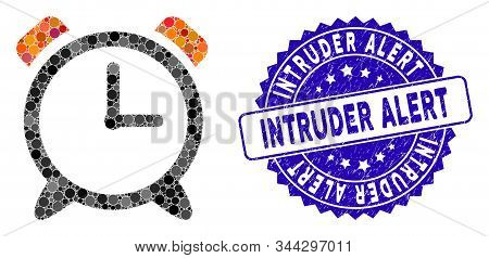 Mosaic Alarm Clock Icon And Rubber Stamp Watermark With Intruder Alert Caption. Mosaic Vector Is For