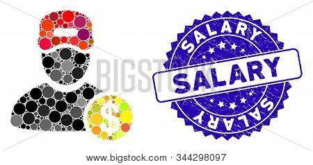 Mosaic Guy Salary Icon And Corroded Stamp Seal With Salary Caption. Mosaic Vector Is Created With Gu