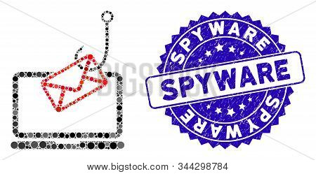 Mosaic Laptop Mail Phishing Icon And Rubber Stamp Seal With Spyware Phrase. Mosaic Vector Is Created