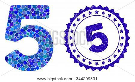 Collage 5 Digit Icon And Grunge Stamp Watermark With 5 Text. Mosaic Vector Is Formed With 5 Digit Ic