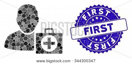 Mosaic User First Aid Icon And Rubber Stamp Seal With First Caption. Mosaic Vector Is Created With U