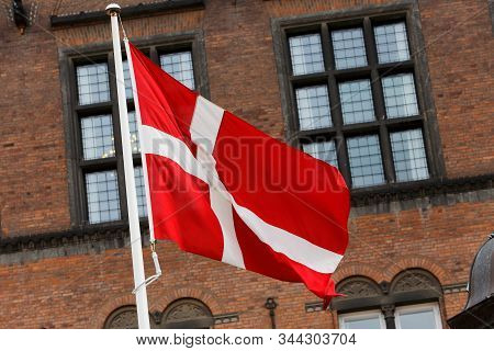 Close-up Of The National Flag Of Denmark.
