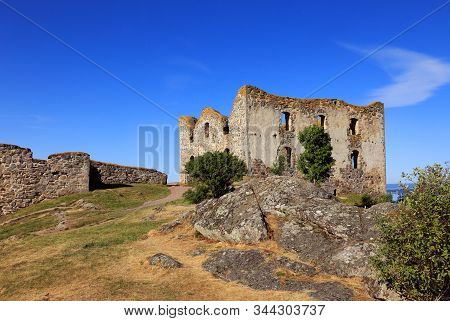 View Of The  Ruins Of  Brahehus Castle In The Swedish Province Of Smaland.