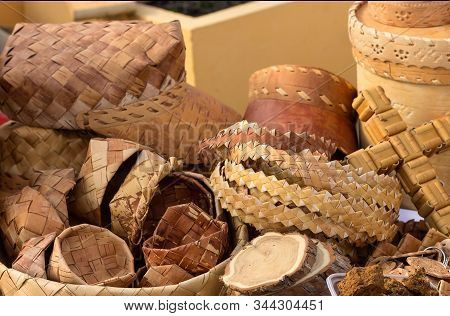Wickerwork Made Ofbirch Bark For Various Purposes At An Exhibition And Sale To The Public