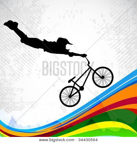 BMX cyclist performing stunt on abstract colorful wave background. EPS 10.