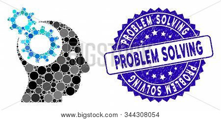 Mosaic Head Gears Icon And Rubber Stamp Seal With Problem Solving Phrase. Mosaic Vector Is Composed