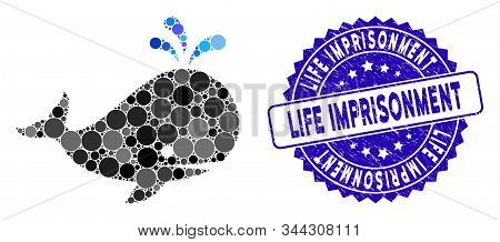 Mosaic Whale Icon And Distressed Stamp Seal With Life Imprisonment Caption. Mosaic Vector Is Created