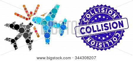 Mosaic Airplane Collision Icon And Grunge Stamp Seal With Collision Text. Mosaic Vector Is Composed