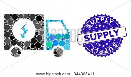 Collage Power Supply Van Icon And Grunge Stamp Seal With Supply Text. Mosaic Vector Is Formed With P