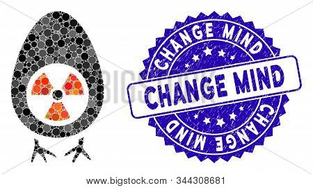 Mosaic Atomic Project Icon And Corroded Stamp Seal With Change Mind Phrase. Mosaic Vector Is Designe