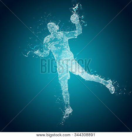 Abstract Handball Player In Action. Handball Player Throws A Ball. Crystal Ice Effect