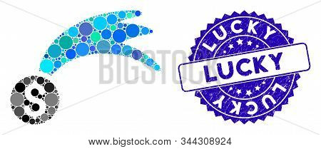 Mosaic Lucky Money Icon And Grunge Stamp Seal With Lucky Caption. Mosaic Vector Is Formed With Lucky