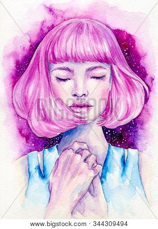 Pretty Pink Haired Girl Hand Drawn Watercolor Illustration
