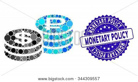 Mosaic Rouble And Dollar Coins Icon And Grunge Stamp Seal With Monetary Policy Text. Mosaic Vector I