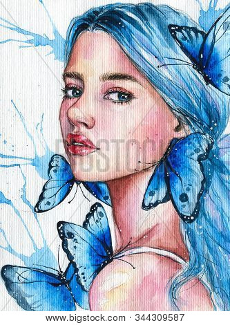 Blue Haired Girl With Butterflies Hand Drawn Watercolor Illustration
