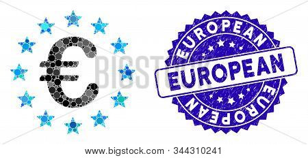 Mosaic European Union Icon And Distressed Stamp Seal With European Phrase. Mosaic Vector Is Designed