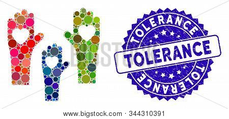 Mosaic Tolerance Hands Icon And Rubber Stamp Watermark With Tolerance Caption. Mosaic Vector Is Comp