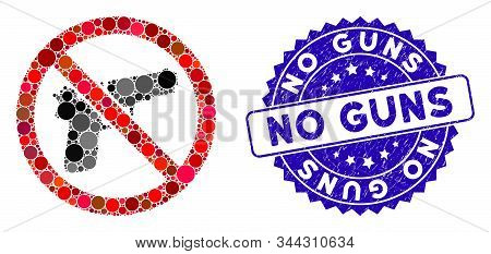 Mosaic No Guns Icon And Rubber Stamp Seal With No Guns Phrase. Mosaic Vector Is Formed With No Guns