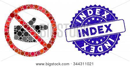 Mosaic No Index Finger Icon And Corroded Stamp Seal With Index Caption. Mosaic Vector Is Composed Fr