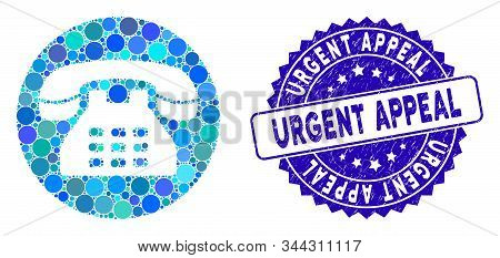 Mosaic Phone Number Icon And Corroded Stamp Seal With Urgent Appeal Text. Mosaic Vector Is Formed Wi
