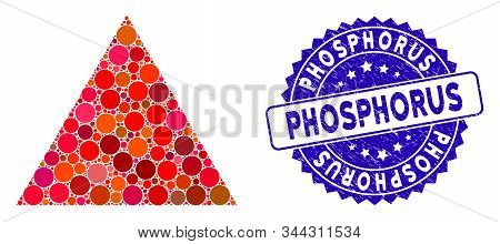 Collage Filled Triangle Icon And Rubber Stamp Seal With Phosphorus Text. Mosaic Vector Is Created Wi