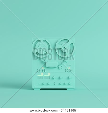 Reel To Reel Type Recorder On Bright Green Background In Pastel Colors. Minimalism Concept. 3d Rende