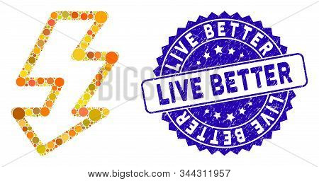 Mosaic Camera Flash Icon And Rubber Stamp Watermark With Live Better Caption. Mosaic Vector Is Forme