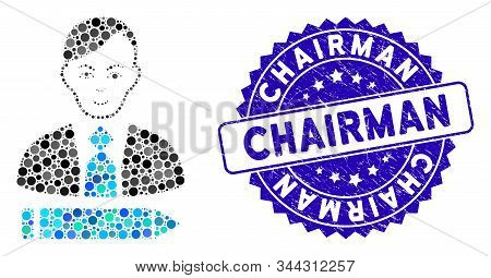 Mosaic Clerk Icon And Rubber Stamp Seal With Chairman Text. Mosaic Vector Is Designed From Clerk Ico