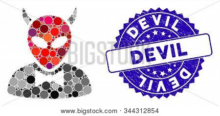 Mosaic Devil Icon And Distressed Stamp Seal With Devil Text. Mosaic Vector Is Formed With Devil Icon