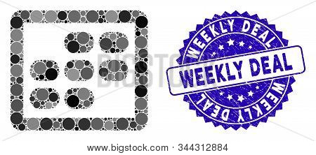 Mosaic Week Calendar Icon And Distressed Stamp Seal With Weekly Deal Caption. Mosaic Vector Is Compo