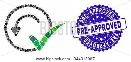 Mosaic Pre-approved Icon And Rubber Stamp Seal With Pre-approved Caption. Mosaic Vector Is Formed Wi
