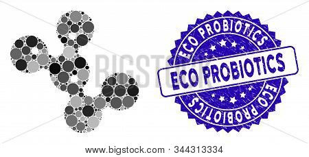 Mosaic Microbes Icon And Distressed Stamp Seal With Eco Probiotics Phrase. Mosaic Vector Is Designed