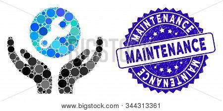 Mosaic Wrench Maintenance Icon And Corroded Stamp Seal With Maintenance Phrase. Mosaic Vector Is Des