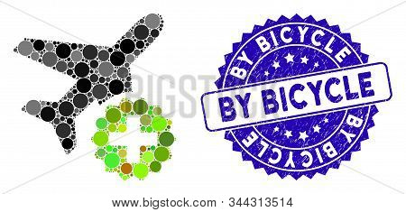 Mosaic Airplane Addition Icon And Distressed Stamp Seal With By Bicycle Phrase. Mosaic Vector Is Des