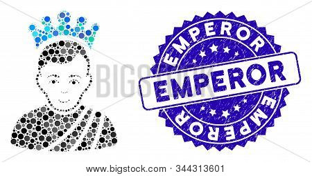 Mosaic Emperor Icon And Grunge Stamp Seal With Emperor Text. Mosaic Vector Is Designed With Emperor