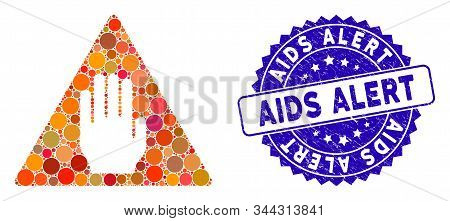 Mosaic Alert Icon And Corroded Stamp Seal With Aids Alert Text. Mosaic Vector Is Formed With Alert P
