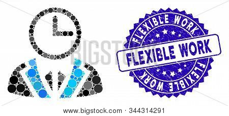Mosaic Duty Person Icon And Grunge Stamp Seal With Flexible Work Caption. Mosaic Vector Is Created W
