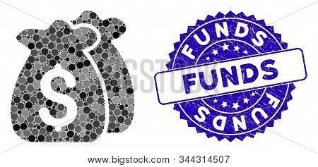 Mosaic Funds Icon And Rubber Stamp Watermark With Funds Caption. Mosaic Vector Is Created With Funds