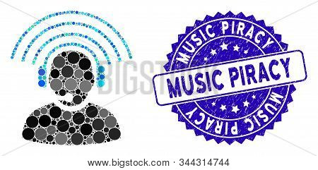 Collage Operator Radio Signal Icon And Corroded Stamp Watermark With Music Piracy Phrase. Mosaic Vec