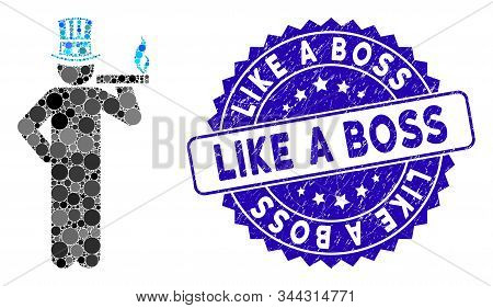 Mosaic American Capitalist Icon And Grunge Stamp Seal With Like A Boss Text. Mosaic Vector Is Create