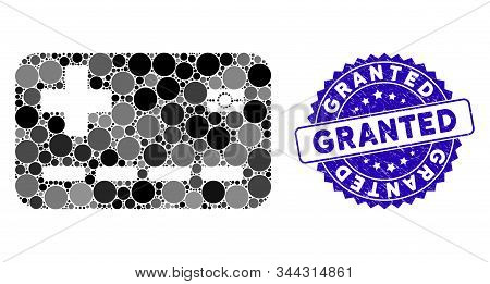 Mosaic Medical Insurance Card Icon And Distressed Stamp Seal With Granted Text. Mosaic Vector Is Des