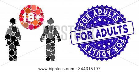Mosaic For Adults Icon And Corroded Stamp Seal With For Adults Caption. Mosaic Vector Is Composed Wi