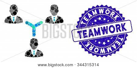 Mosaic Teamwork Icon And Distressed Stamp Seal With Teamwork Text. Mosaic Vector Is Formed With Team