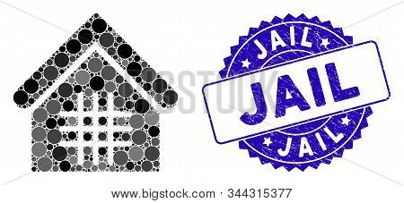 Mosaic Jail Icon And Grunge Stamp Seal With Jail Text. Mosaic Vector Is Formed With Jail Icon And Wi