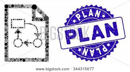 Mosaic Business Plan Icon And Rubber Stamp Watermark With Plan Phrase. Mosaic Vector Is Formed With