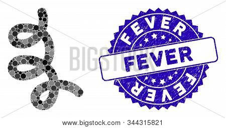 Collage Bacillus Icon And Corroded Stamp Seal With Fever Text. Mosaic Vector Is Formed With Bacillus