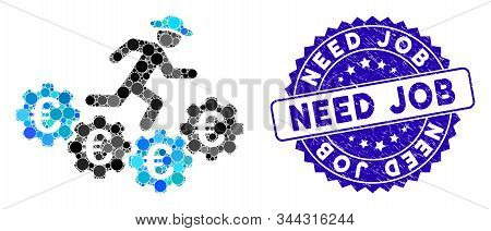 Mosaic Euro Gears Runner Icon And Distressed Stamp Seal With Need Job Text. Mosaic Vector Is Formed