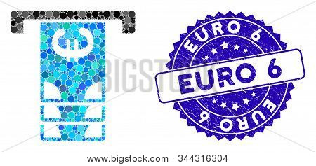 Mosaic Euro Atm Withdraw Icon And Distressed Stamp Seal With Euro 6 Phrase. Mosaic Vector Is Formed