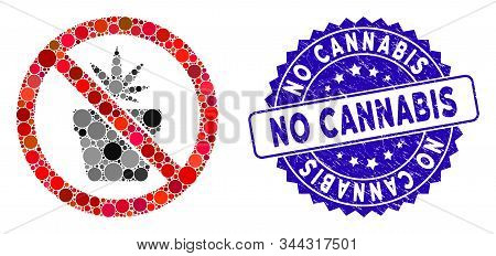 Mosaic No Cannabis Pot Icon And Grunge Stamp Seal With No Cannabis Text. Mosaic Vector Is Created Wi