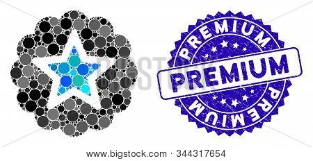 Mosaic Premium Icon And Grunge Stamp Seal With Premium Phrase. Mosaic Vector Is Formed From Premium